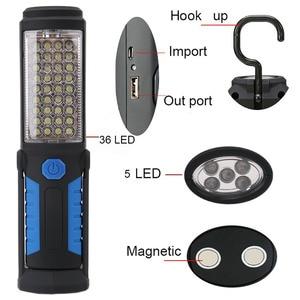 Image 1 - USB Rechargeable Lamp 36+ 5 LED Flashlight Outdoor Camping Lantern Work Lights Magnet HOOK Mobile Power For Phone Lanterna Lamp