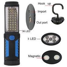 Usb recarregável lâmpada 36 + 5 led lanterna de acampamento ao ar livre luzes trabalho ímã gancho energia móvel para o telefone lâmpada