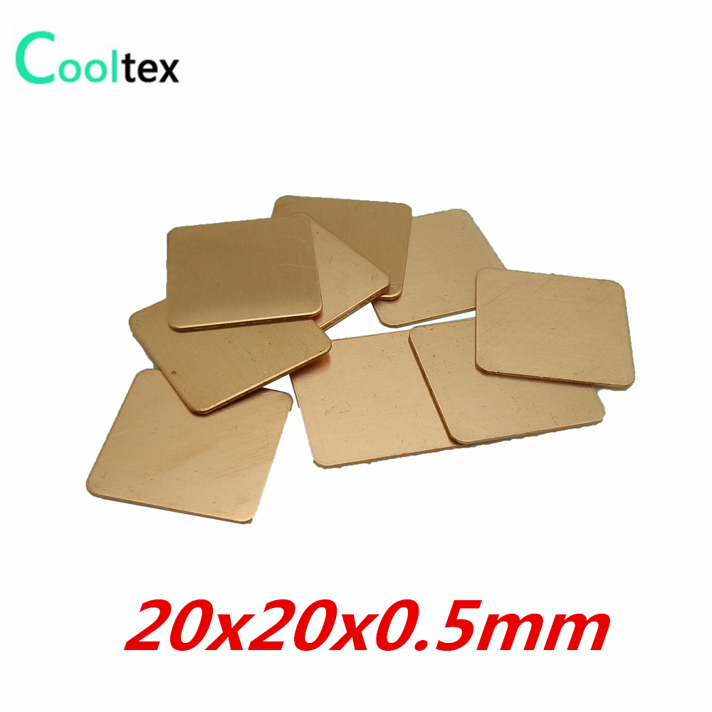 10pcs Lot 20x20x05mm Copper Shim Heatsink Thermal Pad