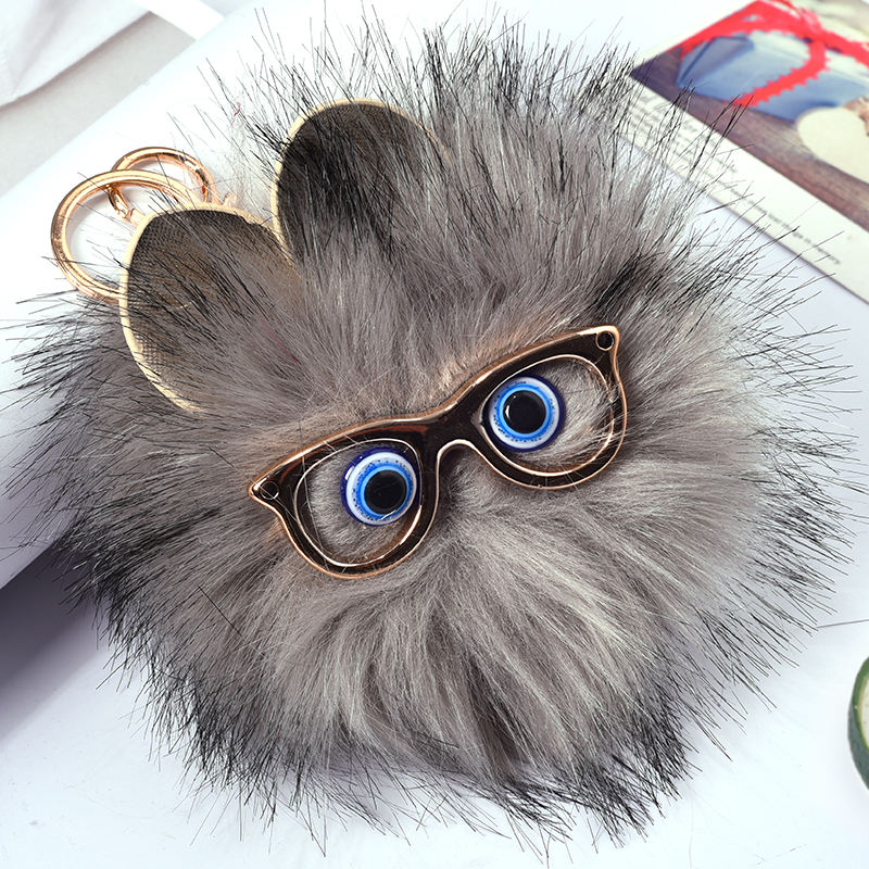 HYBZH 12CM glasses Fur PomPom KeyChain Rabbit Hair Bulb Bag pom pom Ball key chain Pendant poret clef for women Drop shipping pom pom ball applique rabbit print pullover