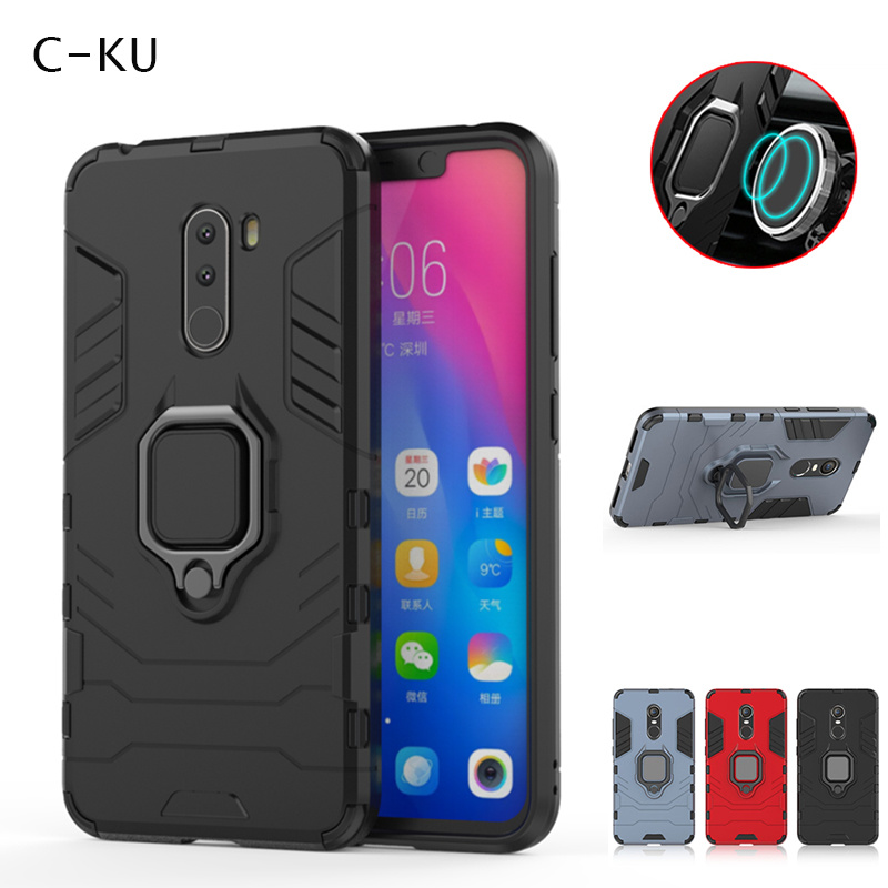 Luxury Car Magnetic Phone Case for <font><b>Xiaomi</b></font> Pocophone F1 Shockproof Armor Ring Holder Stand Silicone Hard Back Cover Xiomi <font><b>Mi8</b></font> SE image
