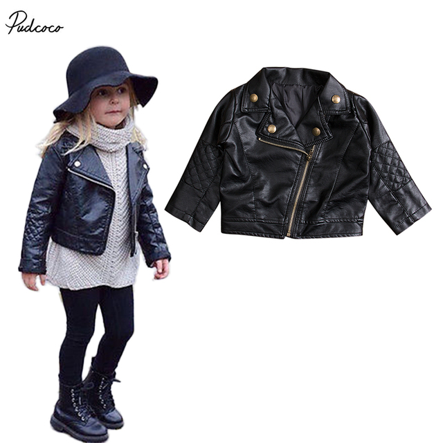c7b33e73d Cool New Kids Girl Fashion Motorcycle PU Leather Jacket Biker Coat ...