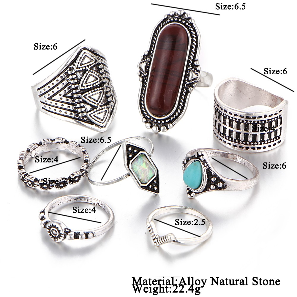 ԵԹԵ Vintage Lucky Stone Finger Midi Ring Set For Boh Gothic - Նորաձև զարդեր - Լուսանկար 3