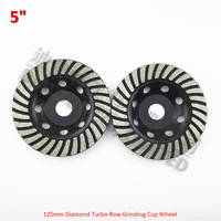 2pcs 5inch Diamond Turbo Row Grinding Cup Wheel For Concrete Masonry And Some Other Construction Mater