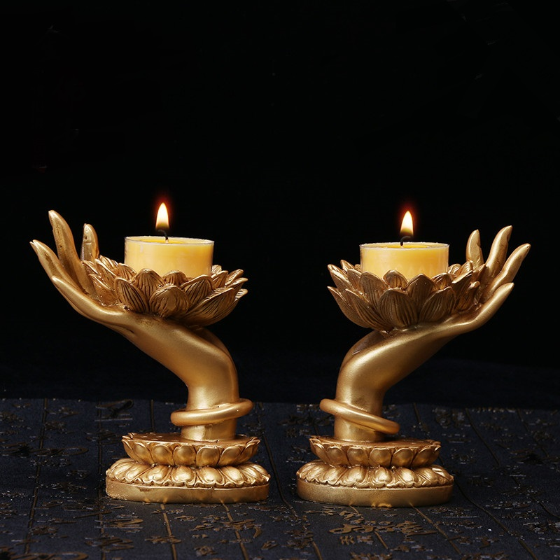Bergamot Candlestick creative ornaments for the Buddha lotus Night Lights holder frame Buddha resin wax bag lamps ZA111406 free shipping european high grade furniture jewelry natural resin candlestick rose upholstery candlestick wedding accessories