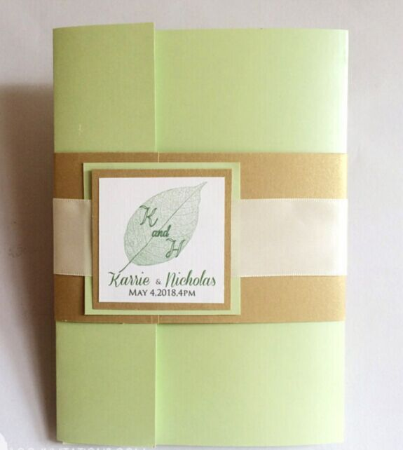 mint green pocket fold wedding invitations with rsvp card tags and
