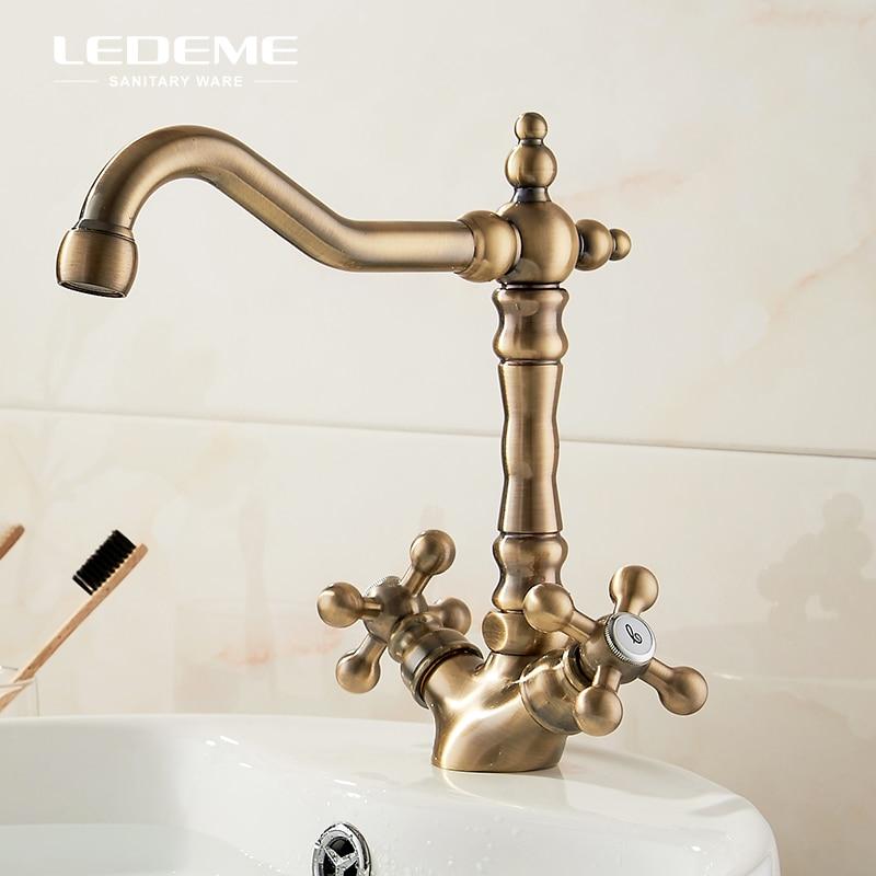 LEDEME Vintage en laiton cuisine bassin robinet deux poignées Bar eau chaude et froide robinet mélangeur pour cuisine salle de bains L4019C