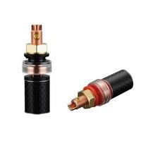 Hifi 4Pcs BP604 Pure Copper Carbon Fiber Audio Binding Post Speaker Terminal for Hi end Amplifier