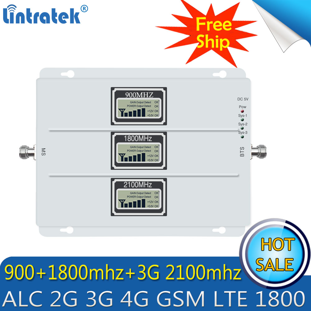 Free shipping GSM 900 WCDMA 2100 LTE 1800 2G 3G 4G ALC Signal Booster 70dB Cellphone