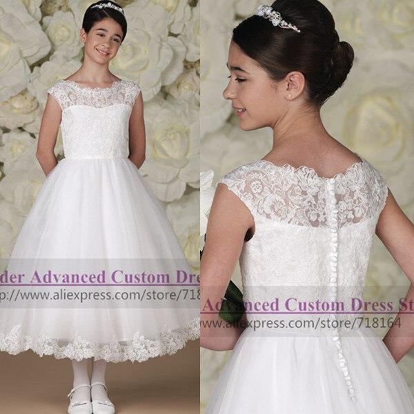 Vintage handmade lace flower girl dress 2017 party pageant kids formal first communion vestido de daminha - Shop718164 Store store
