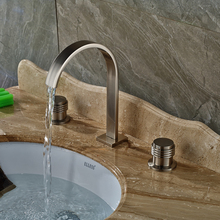 Nickel Brushed Two Handles Bathroom Sink Mixer Taps Deck Mounted Washing Basin Faucet