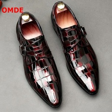 OMDE New Style Patent Leather Men Loafers Pointed Toe Buckle Mens Dress Shoes Stone Print Wedding And Prom Men's Shoes