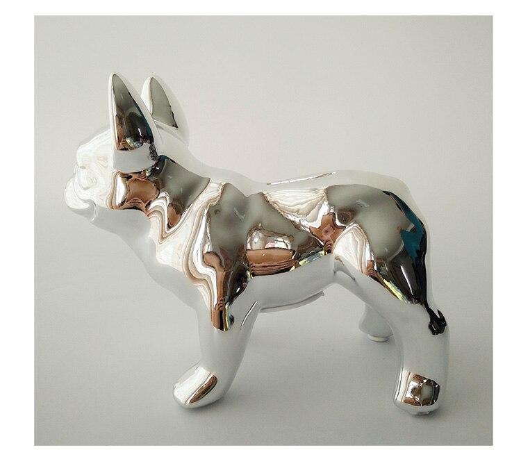 Adornos creativos de Bulldog Francés decoración de escritorio chapado en oro/plata cerámica lindo cerdito sala de estar francés cubo Decoración - 5