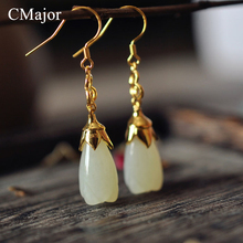 CMajor Vintage Natural Stone Michelia Alba Shaped Earrings For Women Gold Color Long Drop Earrings Elegance Silver Jewelry