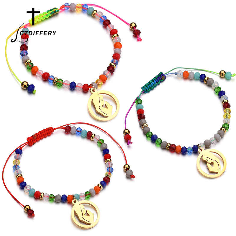 Letdiffery Classic Virgin Mary Bracelets Beads Bracelets Rosary Cross Stretch Strand Bracelet Charm Bracelets Gifts For Women