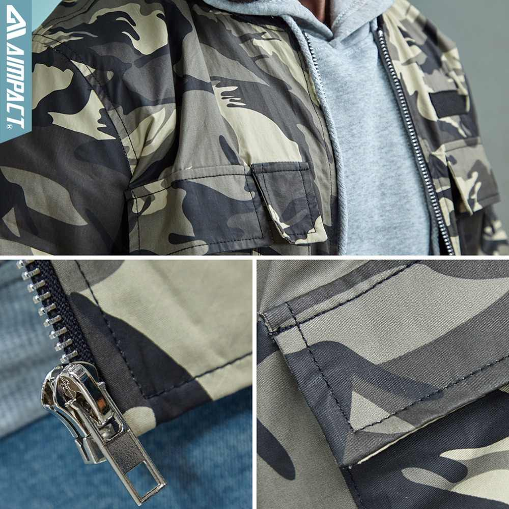 Aimpact Camo chaquetas de algodón para hombres 2018 nuevo invierno rompevientos piloto vuelo motociclista chaquetas Hiphop HighStreet abrigo cálido