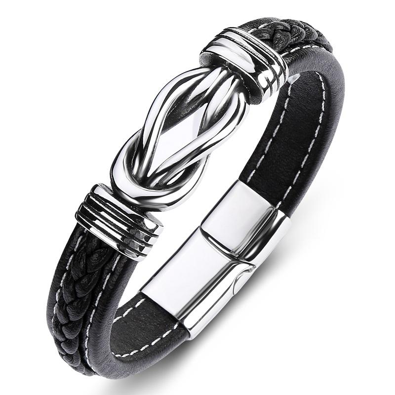 Плетеные Кожаные мужские браслеты Будды из нержавеющей стали