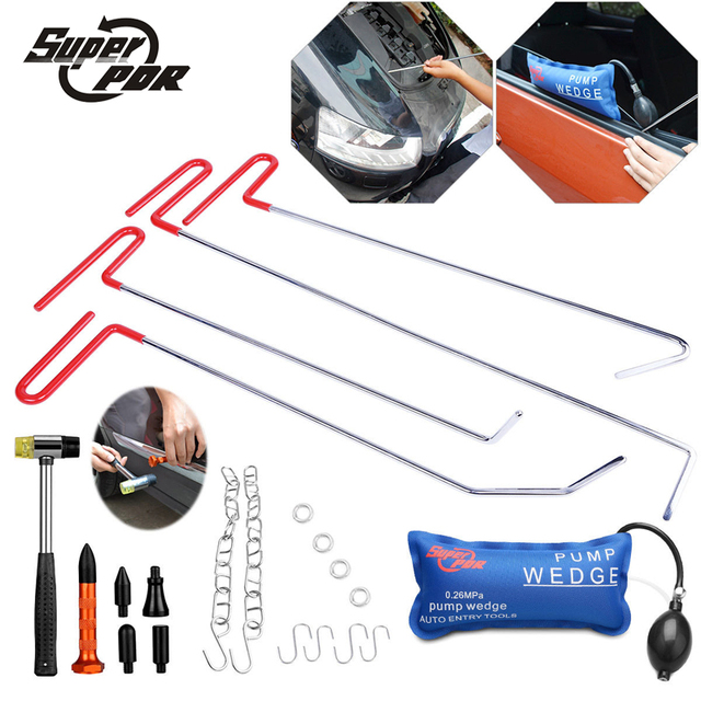 PDR Hooks Tools kit Paintless Dent Repair Tools Dent Removal Tool Set Car Crowbar Pump Wedge rubber hammer tap down pen tools
