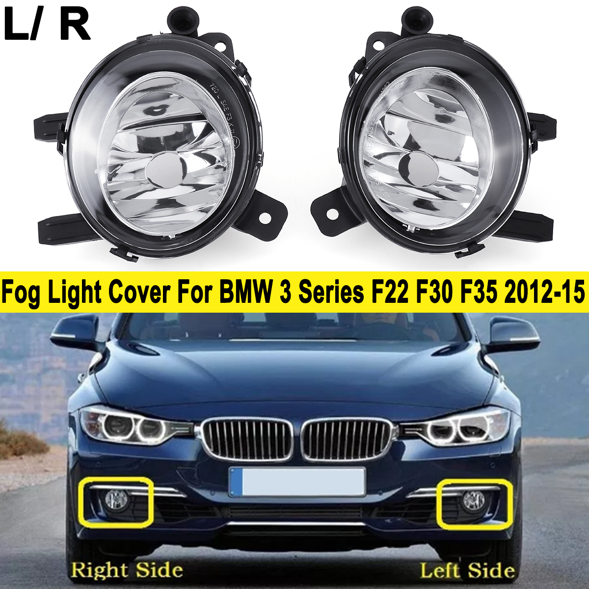 1Pcs Front Fog Light font b Lamp b font Cover Emark Without Bulb For BMW 3