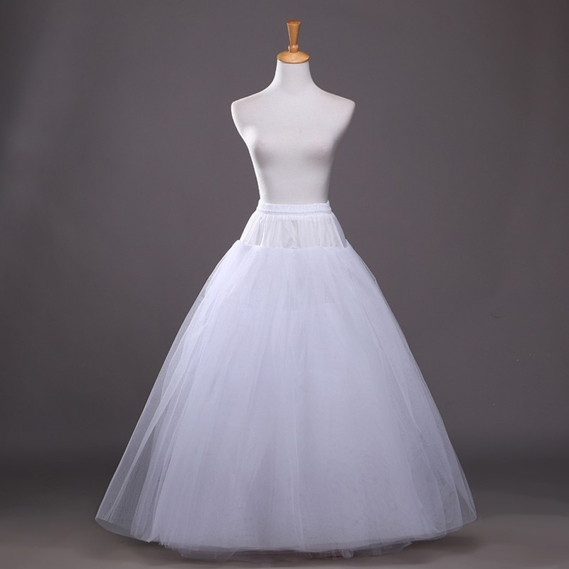 Elegant A Line Bridal Petticoat 4 Layers Tulle Underskirt Women Petticoat Crinoline Without Hoop Bridal Wedding Accessories 2019