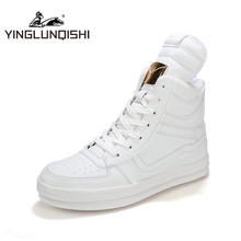 YINGLUNQISHI Men's Fashion High Top Shoes Plus Size 45 Classic Black White New Designer Men PU Leather Ankle Boots Skate Shoes