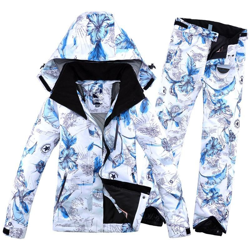 2019 nouveau hiver Impression femme Ski costume veste et PantHiking costume Snowboard vêtements chaud doux femmes Ski costume