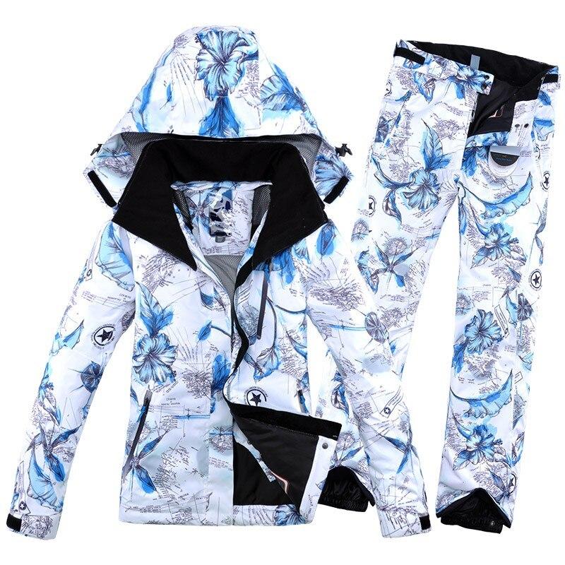 2019 nova impressão de inverno feminino terno de esqui jaqueta e panthiking terno snowboard roupas quentes macio