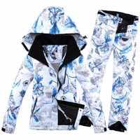 2019 nueva impresión de invierno chaqueta de esquí para mujeres y traje de PantHiking ropa de Snowboard cálido traje de esquí suave para mujeres