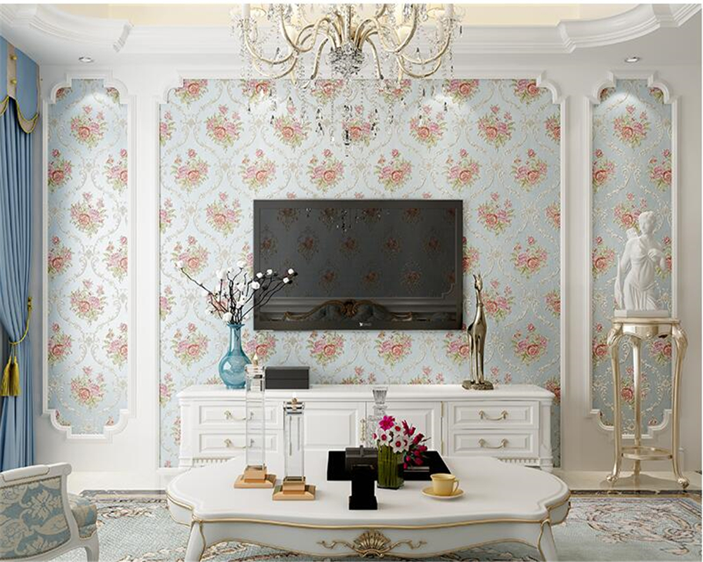 beibehang Non-woven wall paper European-style papel de parede 3d wallpaper 3D flower living room wedding room sofa TV background beibehang mediterranean blue striped 3d wallpaper non woven bedroom pink living room background wall papel de parede wall paper
