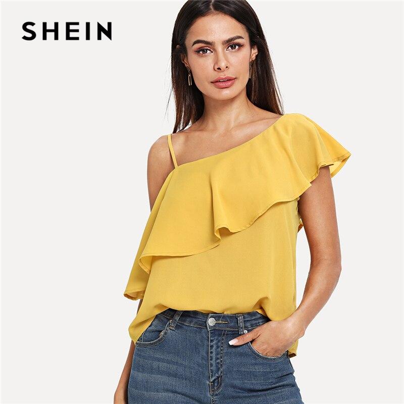 SHEIN Gelb Party Elegante Sexy Asymmetrische Neck Volant Trim Schulter Solide Top Sommer Frauen Wochenende Casual Ausgehen Weste