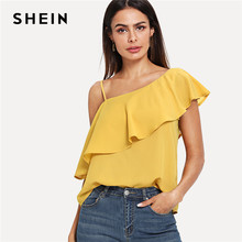 2515bb25012880 SHEIN Yellow Party Elegant Sexy Asymmetrical Neck Flounce Trim One Shoulder  Solid Top Summer Women Weekend Casual Going Out Vest