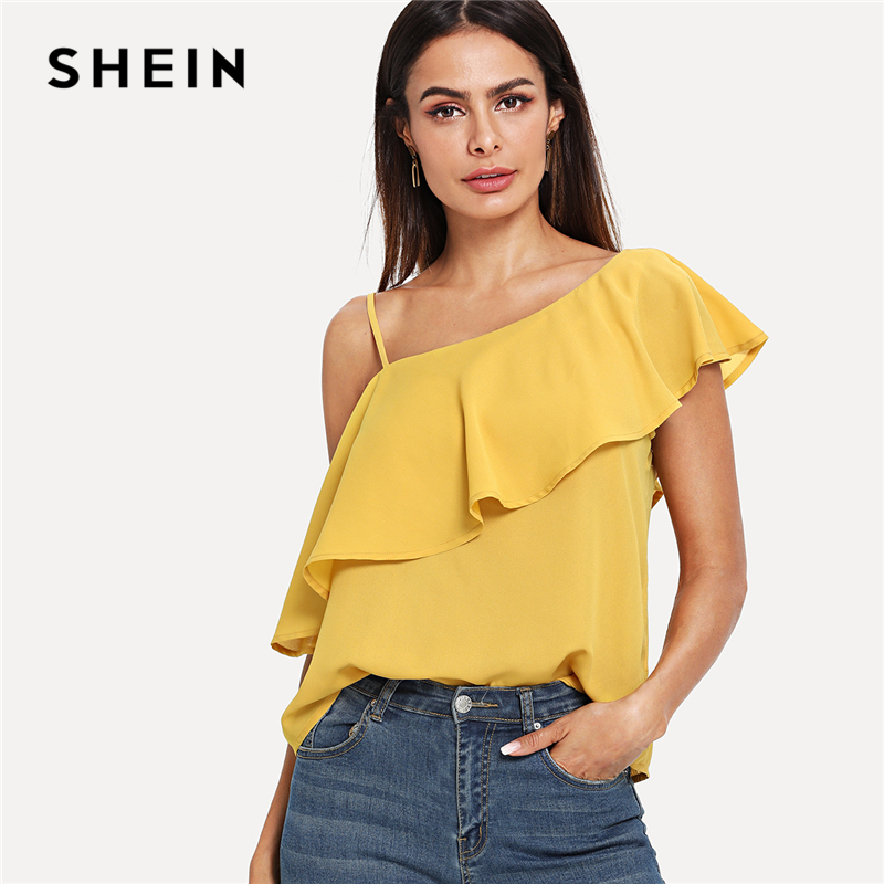 SHEIN Yellow Party Elegant Sexy Asymmetrical Neck Flounce Trim One Shoulder Solid Top Summer Women Weekend Casual Going Out Vest