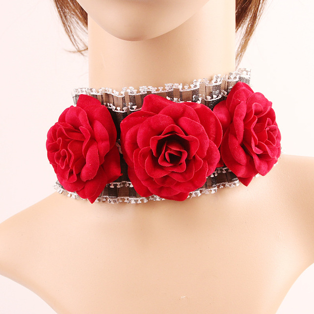 Vintage Black Lace Necklace For Women Chocker Gothic Red Rose