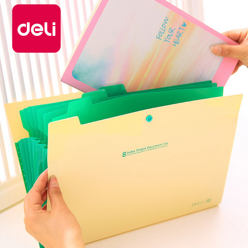 Deli 5PCS A4 Document Office Bag 8 Into The Folder Creative Multi-layer PP Folder File Bag Organ Stationery Bag Briefcase
