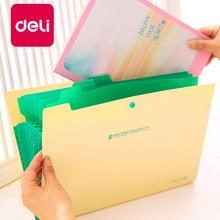 Deli 5PCS A4 Document Office Bag 8 Into the folder Creative Multi-layer PP Folder File Bag Organ Stationery Bag Briefcase недорого