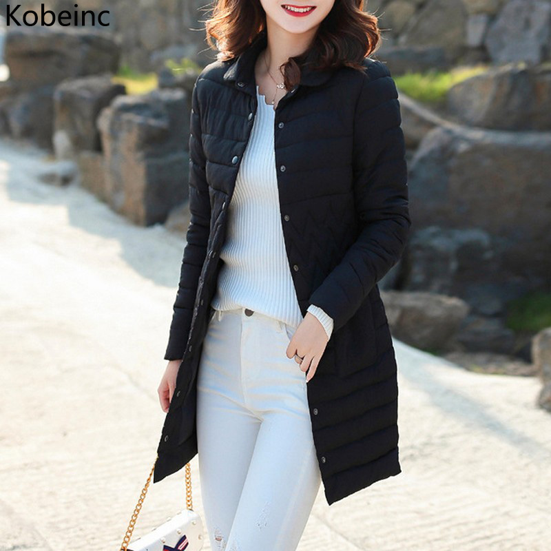 Kobeinc Warm Winter Jacket Women Plus Size Long Coat Female Long Sleeve Turn-down Collar Casacos 7 colors New Casual Down Parka s 2xl 2 colors 2015 new winter women down coat long slim turn down collar zipper jacket female belt pocket outwear zs308