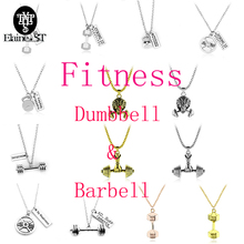 Free shipping Men's Fitness choker Necklace for men 14 styles New punk Barbell and Dumbbell statement Necklace Jewelry gifts