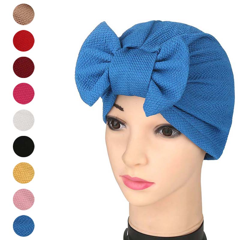 Fashion Women Solid Muslim Turban Indian Cap Bowknot Elastic Beanies Hat Bonnet Headwrap AIC88