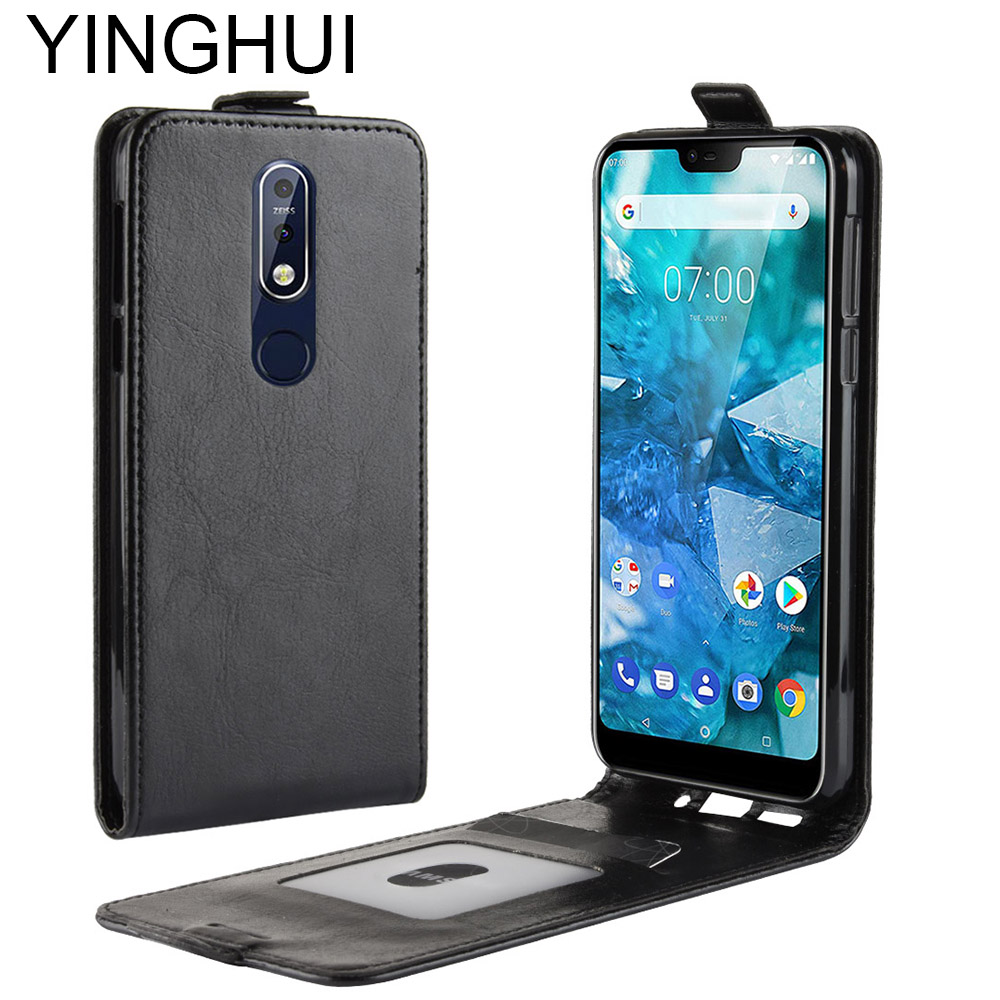 YINGHUI Luxury <font><b>Cases</b></font> For <font><b>Nokia</b></font> 2.1 3.1 <font><b>5.1</b></font> 7 plus X5 Vintage <font><b>Phone</b></font> <font><b>Case</b></font> For <font><b>Nokia</b></font> 7.1 7plus Leather Flip Protective Back Cover image
