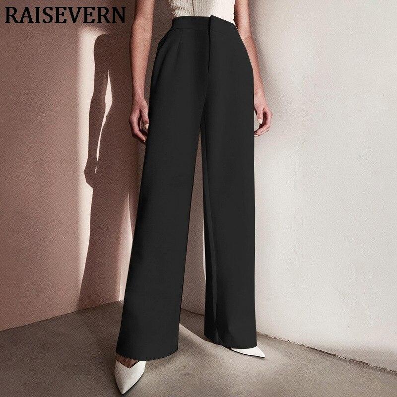 Women Harem   Pants   Solid Color High Waist Loose   Wide     Leg     Pants   Casual Flare   Pant   Streetwear Femme 2019 Trousers