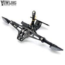 For Yamaha Motorcycle CNC License Plate bracket folding with Signal blinker LED Light MT01 MT02 MT03 MT07 MT09/Tracer MT10 MT25