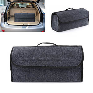 Car Seat Back Rear Storage Bag Holder Pouch Gray Collapsible Trunk Organizer