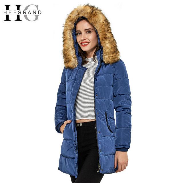Hee grand cálido chaqueta de invierno larga delgada de las mujeres 2016 nuevo Cuello De Piel Artificial Sólido Grueso Hoodied Parka Casaco Feminino 4XL WWM735