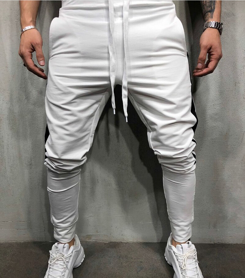 Hirigin 2019 Fasion Men Casual Patchwork Pants Fitness Lace Up  Long Trousers