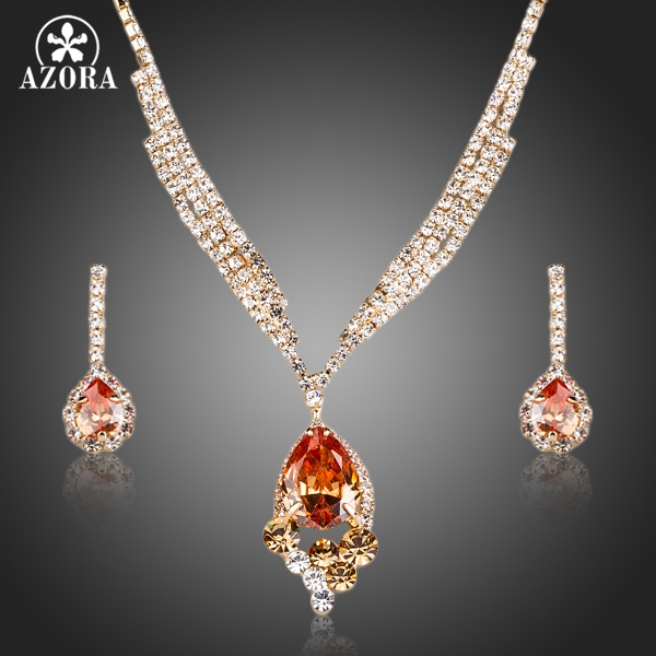 AZORA Gold Color Champagne Cubic Zirconia Pendant Necklace and Drop Earrings Jewelry Sets TG0163