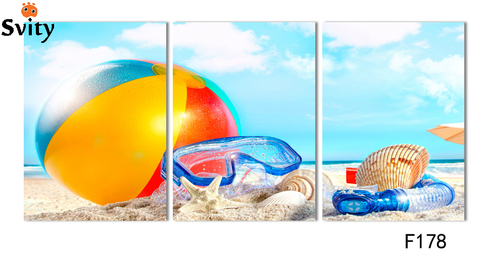 Set of three rectangular, art canvas painting, digital pictures, wall stickers, home decor, ocean beach scenery picture, F178