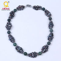 stone and cultured freshwater pearl necklace black pearl handmade woven twisted choker necklace short three layer necklace