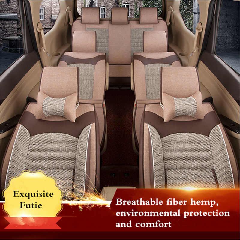 ユニバーサル車のシートカバー繊維リネンフロントクッション3d車のスタイリングシートカバー自動車用トヨタ用ヒュンダイ1ピース3有色