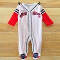 Envío libre feeted mameluco de algodón de manga larga niños niños pijamas bebé ropa interior