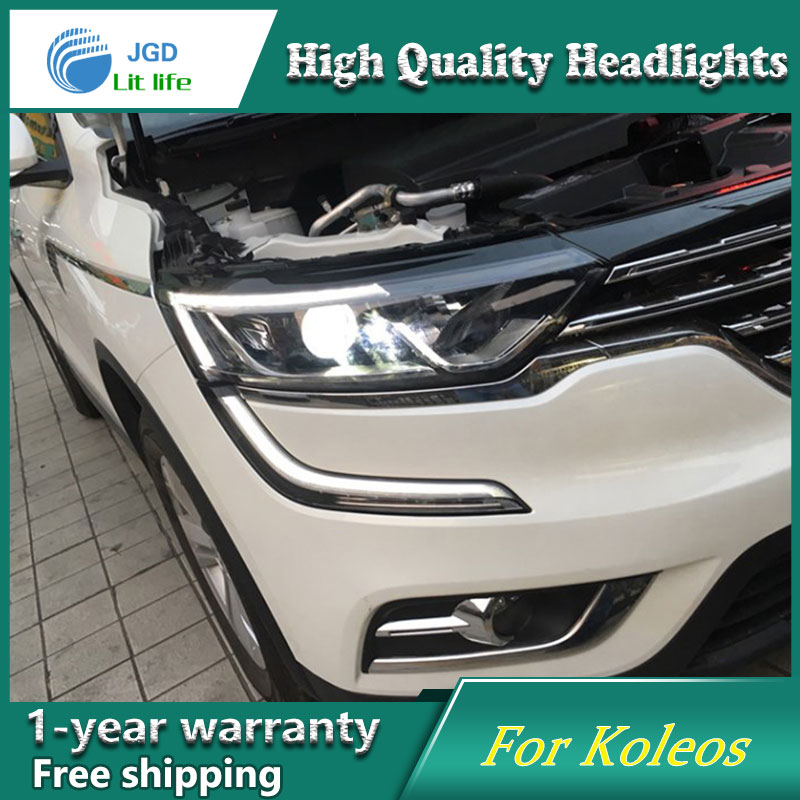 Car Styling Head Lamp Headlights case for Renault Koleos 2017 2018 LED Headlight DRL Lens Double Beam Bi-Xenon HID Accessories high quality car styling case for vw beetle 2013 2014 headlights led headlight drl lens double beam hid xenon car accessories